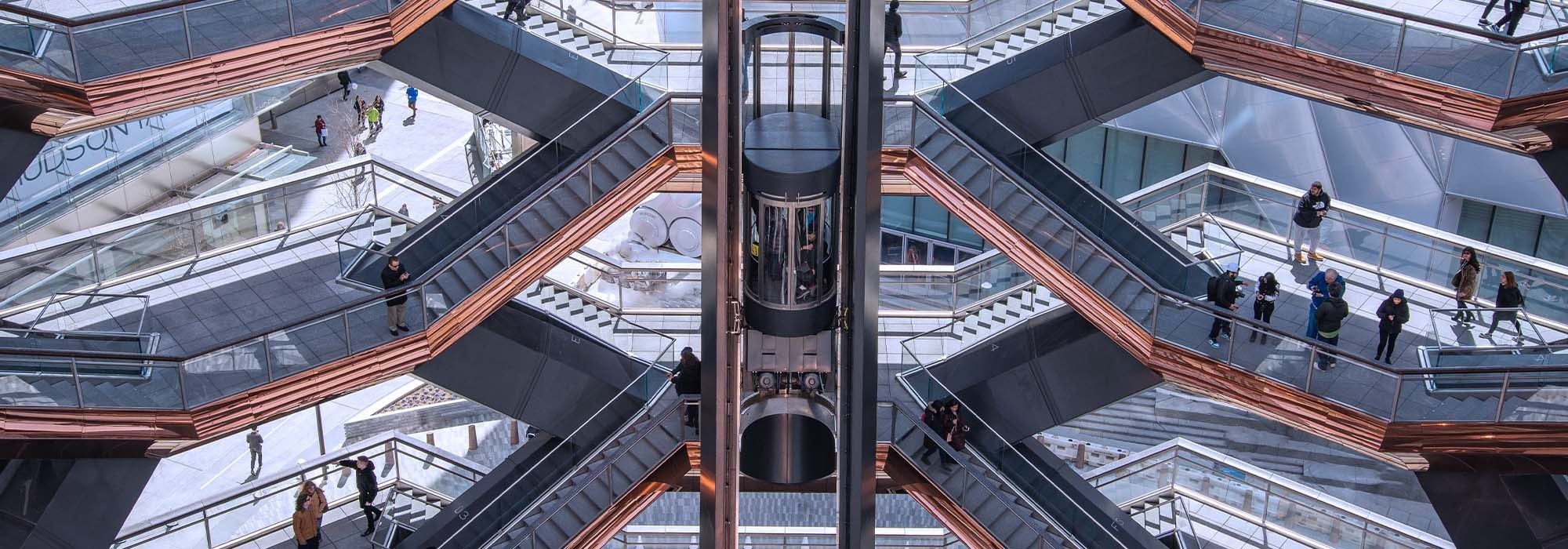 The elevator in the Vessel at Hudson Yards New York City