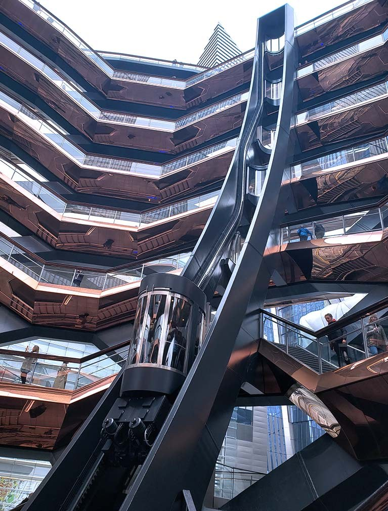 The Vessel at Hudson Yards Elevator ascends the 150 foot structure