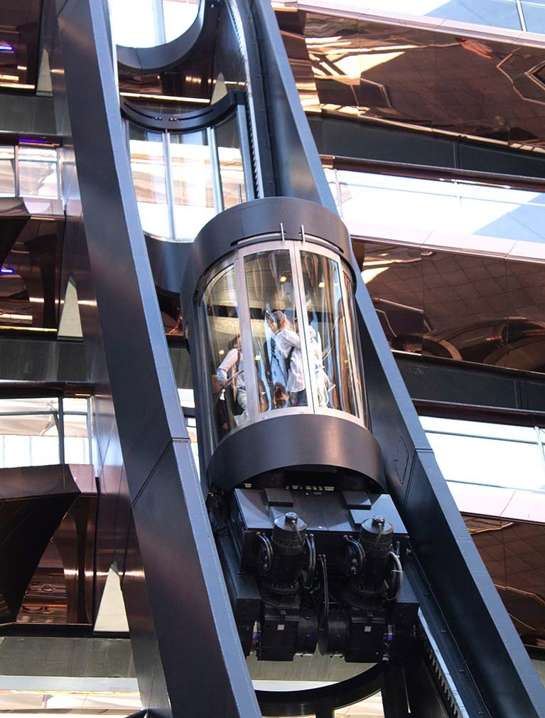 The Vessel at Hudson Yards Elevator allows 360 degree views of the copper structure