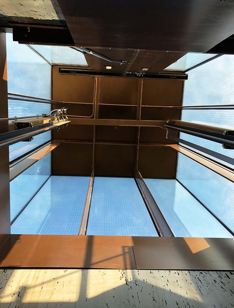 Liberty Island Museum Glass Elevator shaft from within