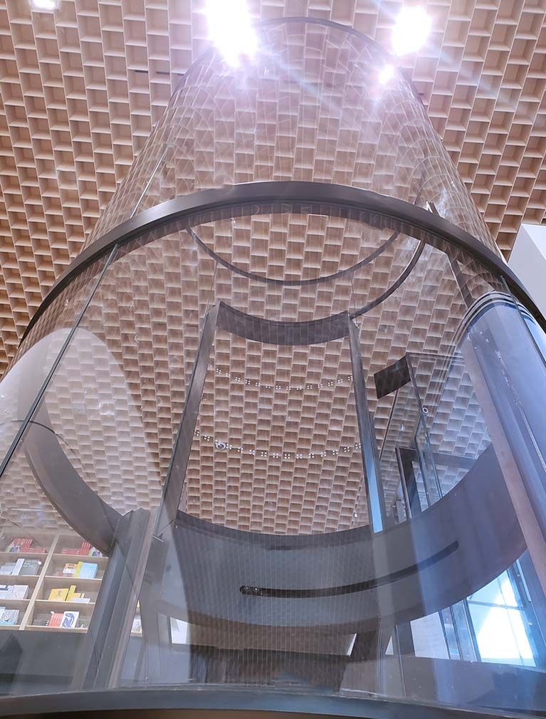 Liberty Elevator installed this round glass elevator in the museum of modern art in 2019