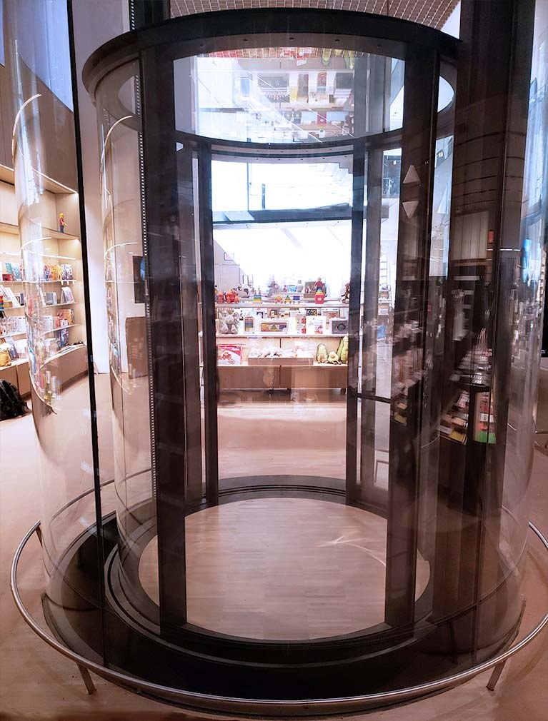 The Modern Museum of Art in Manhattan launched their 2019 expansion with this round glass elevator located in the main lobby of the museum