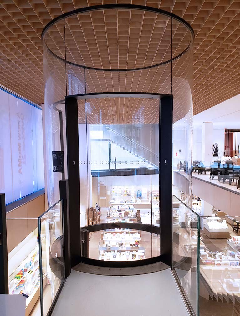 Liberty Elevator created this round glass elevator for MOMA's 2019 expansion