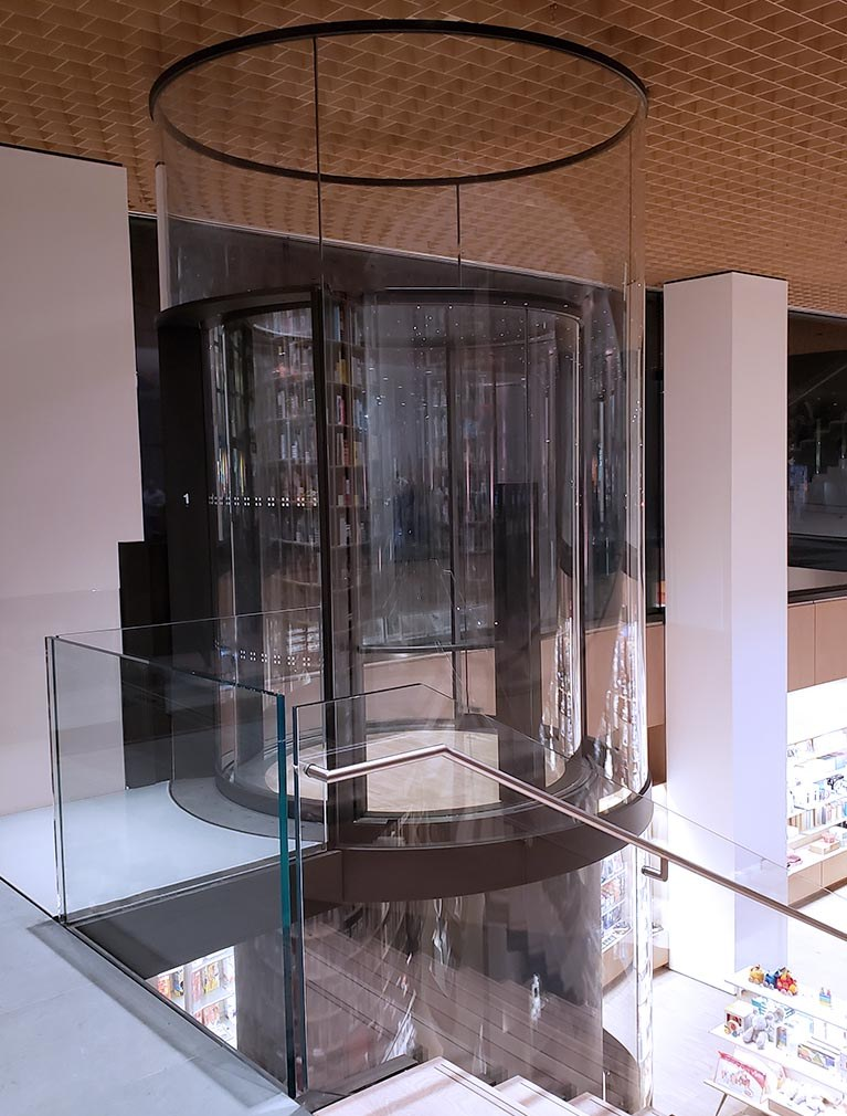 MOMA partnered with Liberty Elevator to design and install a round glass elevator for their 2019 museum expansion