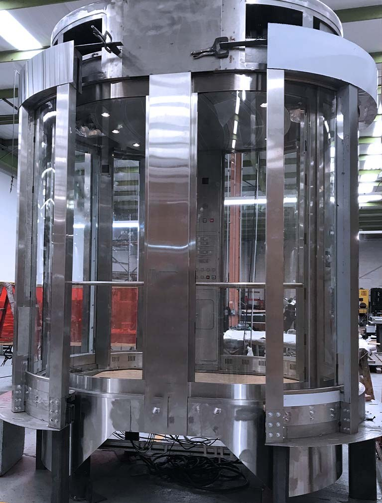 Custom Elevator design stainless steel and glass round elevator cab with front & rear entrance