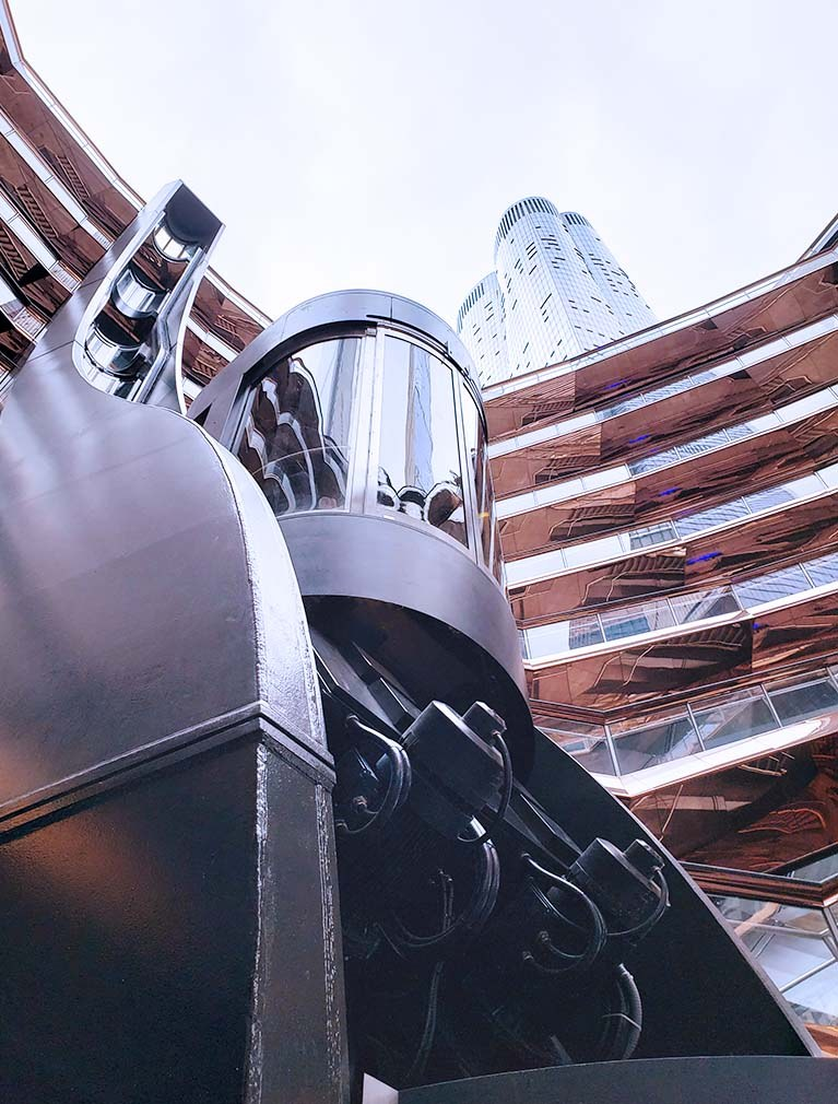 The Vessel at Hudson Yards elevator cab undulates as it ascends the varied structure