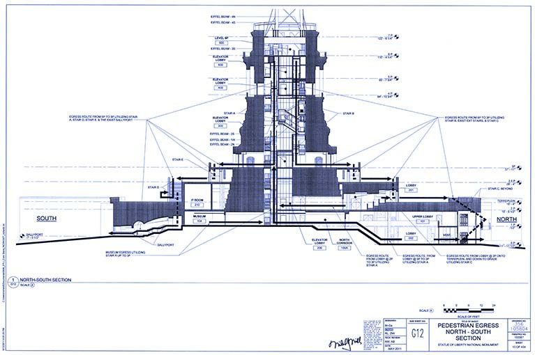 Statue of Liberty 2014 blueprint of pedestal