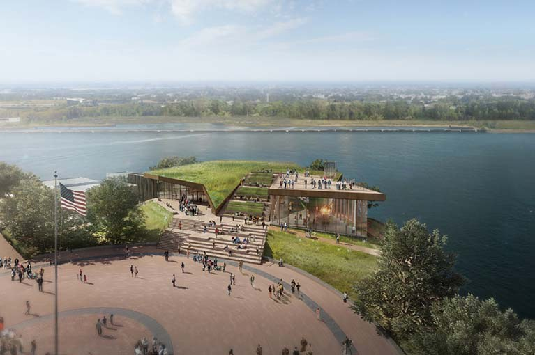 Liberty Island Museum 2019 rendering with view of the Western side of the Island from the statue
