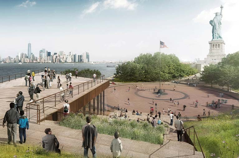 Liberty Island Museum 2019 rendering with views of NYC skyline & the statue of liberty
