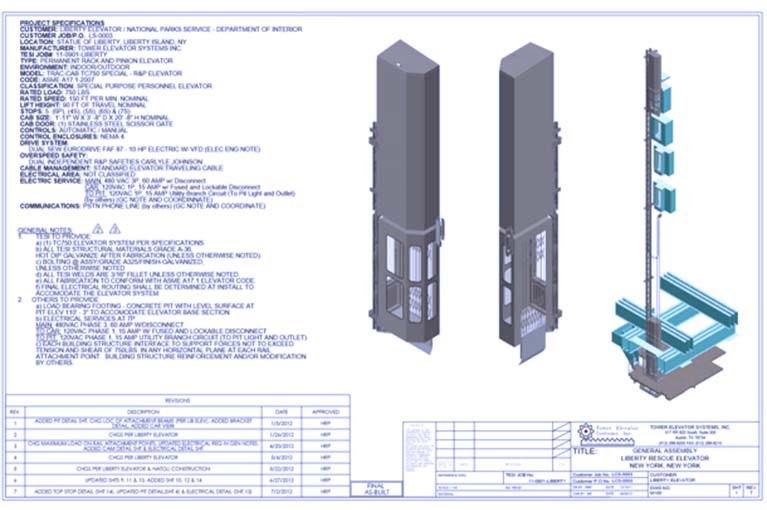 Statue pf Liberty 2014 emergency elevator blueprint
