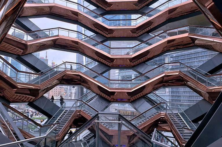 The Vessel at Hudson Yards internal view of the 154 sets of stairs